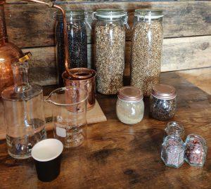 Gin school botanicals and distillation equipment