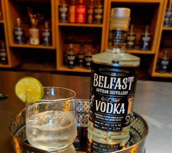 Belfast artisan vodka served with lime wedge